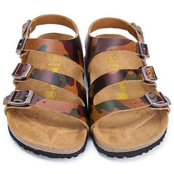 Birkenstock Leather Cork Flats Shoes Boys and girls Casual Sandals Shoes Soft Footbed Slippers-14