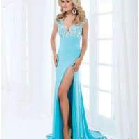 Tony Bowls 2014 Prom Dresses - Turquoise Rhinestone Cap Sleeve Open Back Jersey Gown