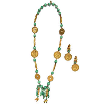 Kenneth Jay Lane (KJL) Chinese Coin Necklace & Earrings Set