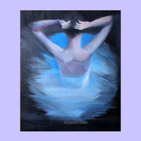 Blue Canvas Art - Ballerina Art - Wall Art Ballerina - Dance Art - Woman Art Print