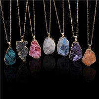 Natural Stone Pendant Necklace Irregular Colorful Amethyst Stone Charms Jewelry