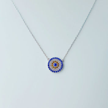 Lucky CZ Diamond Turkish Evil Eye Gold Vermeil Necklace -Protective Luck Blue Evil Eye Good Luck Charm to Protect Against Evil Gift for her