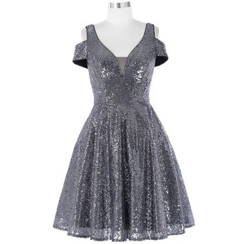 Elegant Short Sequin Cocktail Dresses Mother of the Bride Banquet Dress Dark Grey Shiny Cocktail Dress Party Dresses