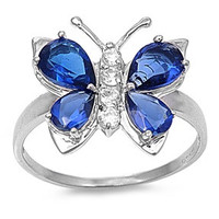 925 Sterling Silver CZ Butterfly Hera Simulated Sapphire Ring 7MM