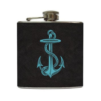Retro Nautical Anchor Whiskey Flask Black Faux by LiquidCourage