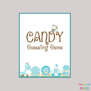 Boy Candy Guessing Game Safari Baby Shower Blue Printable - Guess How Many Candies M&Ms, Jelly Beans  Instant Download  Safari Game BS0001-B