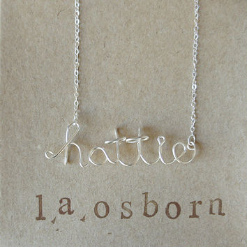 Silver Personalized Name Custom Wire Necklace - Sterling Silver - Charm Necklace - 14K Gold Filled Name Necklace