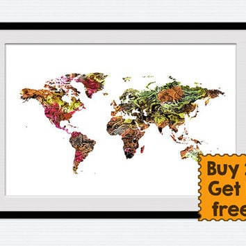 Colorful world map poster Watercolor world map print Home decoration Wall hanging art poster Office wall decor Kids room art poster  W344