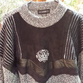 Vtg 80s Z Cavaricci sweater w/ suede and leather  Geometric Print Cosby Coogi Style knit Biggie sweater Size Large