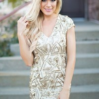 The Gatsby Sequin Dress in Gold