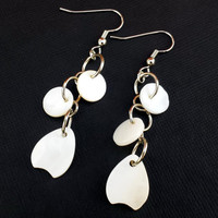 White shell drop earrings/ Shell earrings/ White earrings/ Drop earrins/ Handmade/ Women's/ Earrings/ Shell/ White shell/ Sea shell/ White