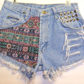Wrangler Denim Shorts Southwestern  Print  with by Turnupthevolume