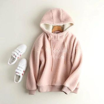 2017 Fashion Hooded Women Pink Hoodies Letter Embroidery Furry Women Hoodie Autumn Thick Winter Women Sweatshirts