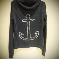 COSMIC RAY clothing — 'ANCHOR' Navy Contrast Zip Hoodie