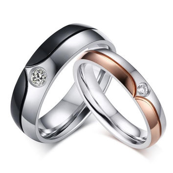 His and Hers Stainless Steel Wedding Ring Set Custom Engraved
