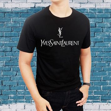 Men Casual Cotton T Shirts London Logo Fashion Ysl Fashion Round Neck Tops Black Size S-3XL