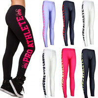 Sexy 2015 Side letters Sports Pants Force Exercise Women Sports Yoga Tights Elastic Fitness Running Trousers Slim Aerobics Pants = 1932967492