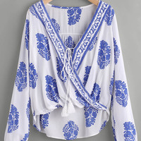 Printed Lace Up Front Wrap Top -SheIn(Sheinside)