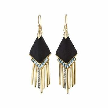 Alexis Bittar Golden Lucite & Crystal Fringed Chevron Drop Earrings