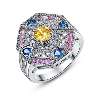 18K White Gold Plated Pink & Blue Topaz Ring