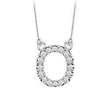 Petite Baby Charm Cubic Zirconia O Initial Pendant : .925 Sterling Silver - 0.25 CT TGW