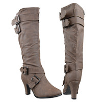 Womens Knee High Boots Strappy Buckle Accent High Heel Shoes Tan SZ