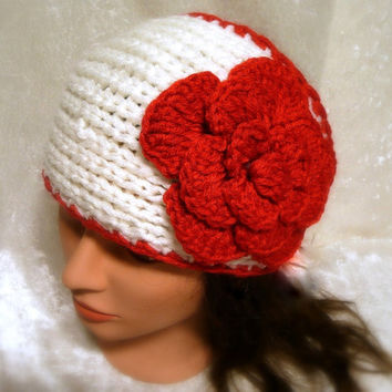 Rose Headband Flower Headband Knit Headband Yoga Headband Fitness Festival Headband Knit Earwarmer Women Teen to Adult Handmade Gift Ideas