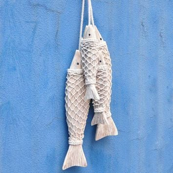 Mediterranean Style Wooden Fish Wall Hanging Decorated Home Decoration Accessories Animal Wall Decoration Marine Decor 2pcs/set