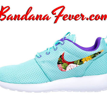 "Nike ""Spring Floral"" Roshe Run Women's Hyper Turquoise/Hyper Grape Swoosh + FREE SHIPPING - by Bandana Fever"