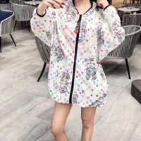 """LOUIS VUITTON"" Woman's Leisure Fashion Letter Personality Printing Zipper Short Sleeve Tops"