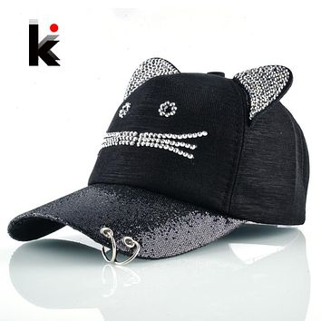 black cat ear baseball cap ebay girls flashing rhinestone with cute ears