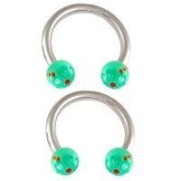 septum jewelry horseshoe eyebrow rings nose hoops 16g 5/16 2pcs - pick color - cartilage ear gauge helix body piercing jewelry circular barbell BECD (Set S-07-Green+Green)