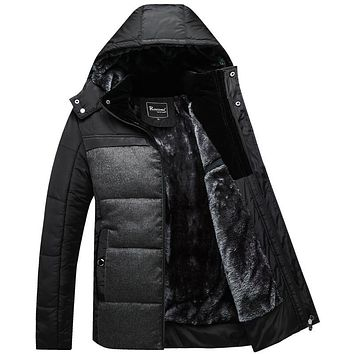 Winter Coat Men black puffer jacket warm male overcoat parka outwear cotton padded hooded  coat men's cotton jackets X1509