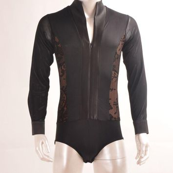 New Arrival Men Dance Shirt V-Neck Long Sleeve Mens Latin Shirts Ballroom Dance Tops Clothing For Dance Wear