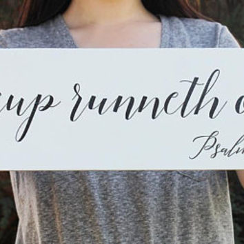 My Cup Runneth Over Sign, Bible Verse Sign, Coffee Mug, Psalm 23:5, Farmhouse Sign, Framed Wood Sign, Coffee Bar Sign, Fixer Upper Style