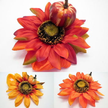 HALLOWEEN SPECIAL - Autumn Red, Yellow & Orange Pumpkin Sunflower Baby/Toddler Photo Prop Fascinator -birthday tiara baby's first Halloween