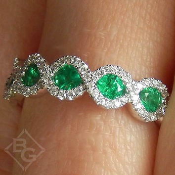 Ben Garelick 14K White Gold Emerald & Diamond Ring