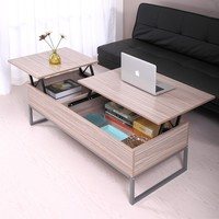JAXPETY Lift up Top Coffee Table with Under Storage Shelf Modern Living Room Furniture (Log Color)