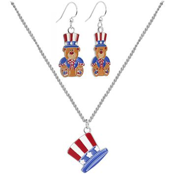 Patriotic Uncle Sam Teddy Bear Earring and Necklace Set