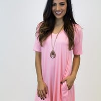 Rose Short Sleeve V-Neck Piko Dress