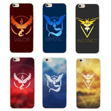 s Go Game Team Valor Team Mystic Team Instinct Soft Silicone Cases For iphone 6 6S 6Plus 6S Plus Phone Cover TPU CoqueKawaii Pokemon go  AT_89_9
