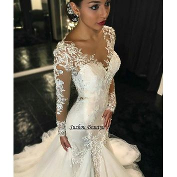 Sexy Lace Plunging Neck Mermaid Wedding Dress With Long Sleeves Appliques Illusion Bodice Ruched Tulle Bridal Dresses Gowns 2017