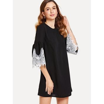 Contrast Lace Trim Tunic Dress