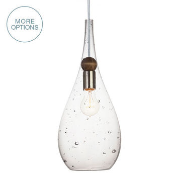 Blown Glass & Wood Drop Seeded Pendant Light