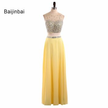Baijinbai Custom Sexy Pink/Yellow Sequins Beaded 2 Piece Prom Dresses Scoop Long Style Evening Party Dresses Vestido De Vesta