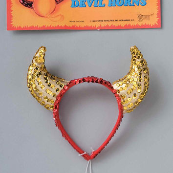 Gold Sequin Devil Horns Halloween Costume Accessory