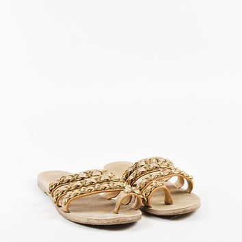 Chanel Metallic Gold Glittered Leather Chain Strap Ring Toe Slide Sandals