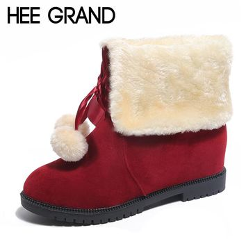 HEE GRAND Faux Fur Women Snow Boots Sweet Lace Up Ankle Boots Winter Warm Pom Poms Shoes Women Suede Girls Snow Boots XWX6275
