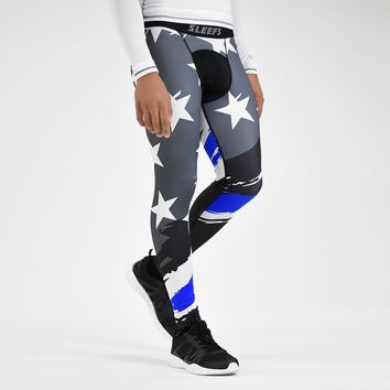Tryton Black Thin Blue Line Tights for men