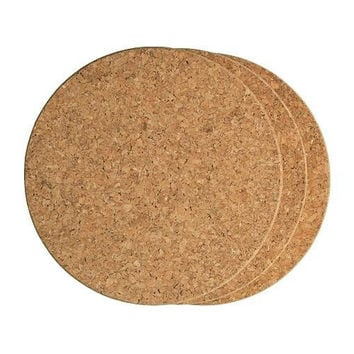 "Fox Run 7"" Round Cork Heat Resistant Non Slip Trivets - 6 pack"